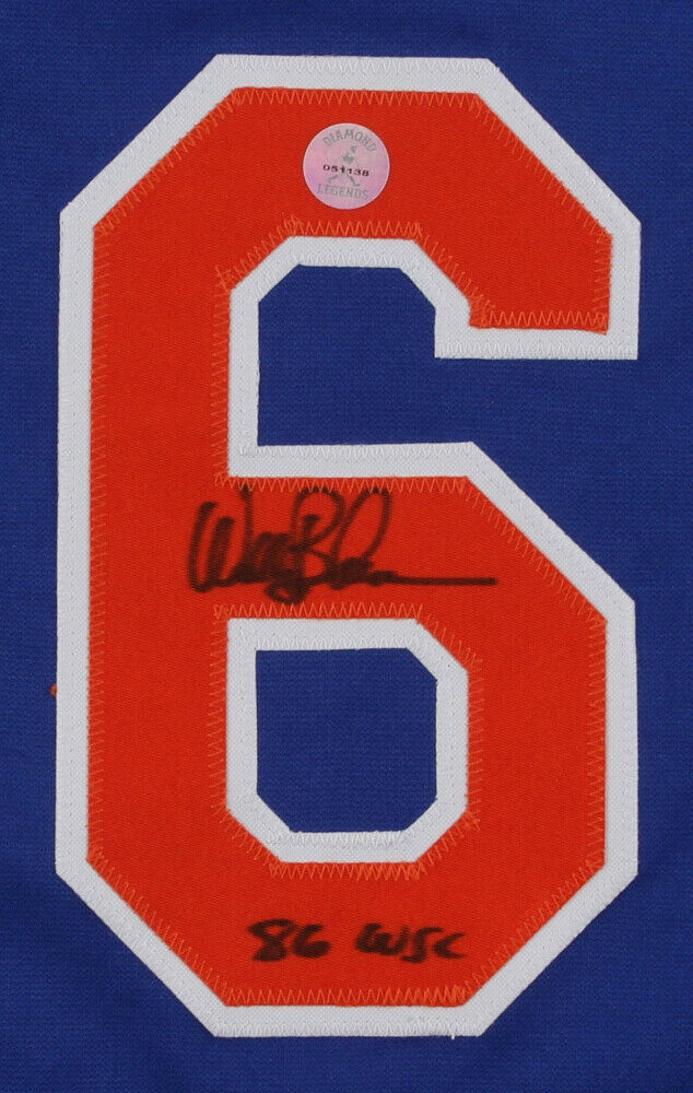 "Wally Backman Signed Mets Blue Home Jersey Inscribed ""86 WSC"" (Diamond Legends)"