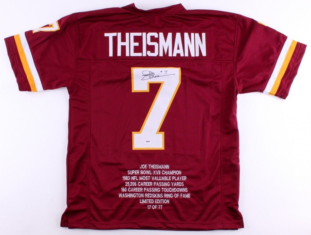 Joe Theismann Signed LE of 77 / Redskins Career Highlight Stat Jersey (PSA COA)
