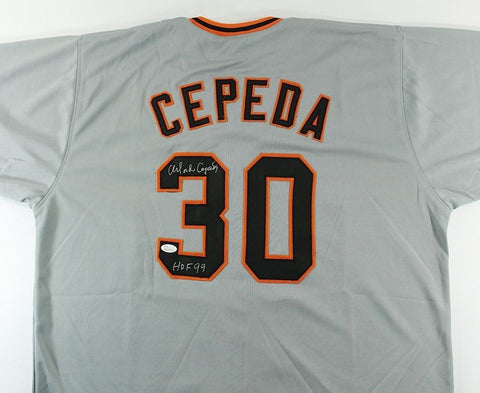 "Orlando Cepeda Signed Giants Jersey Inscribed ""HOF 99"" (JSA COA)"