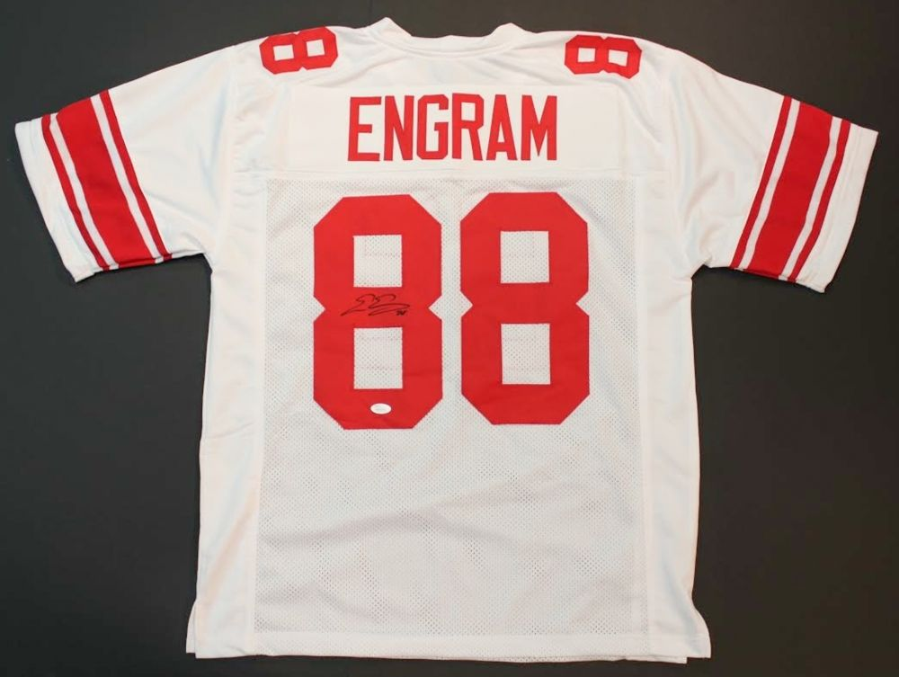 Evan Engram Signed White Giants Jersey (JSA) New York 1st Rd Pick 2017 Draft TE