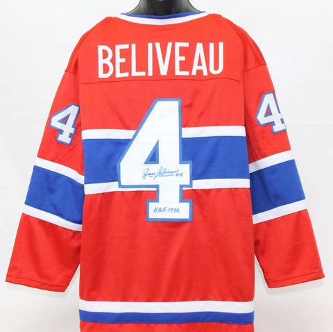 "Jean Beliveau Signed Canadiens Captains Jersey Inscribed ""H.O.F. 1972"" (JSA COA)"