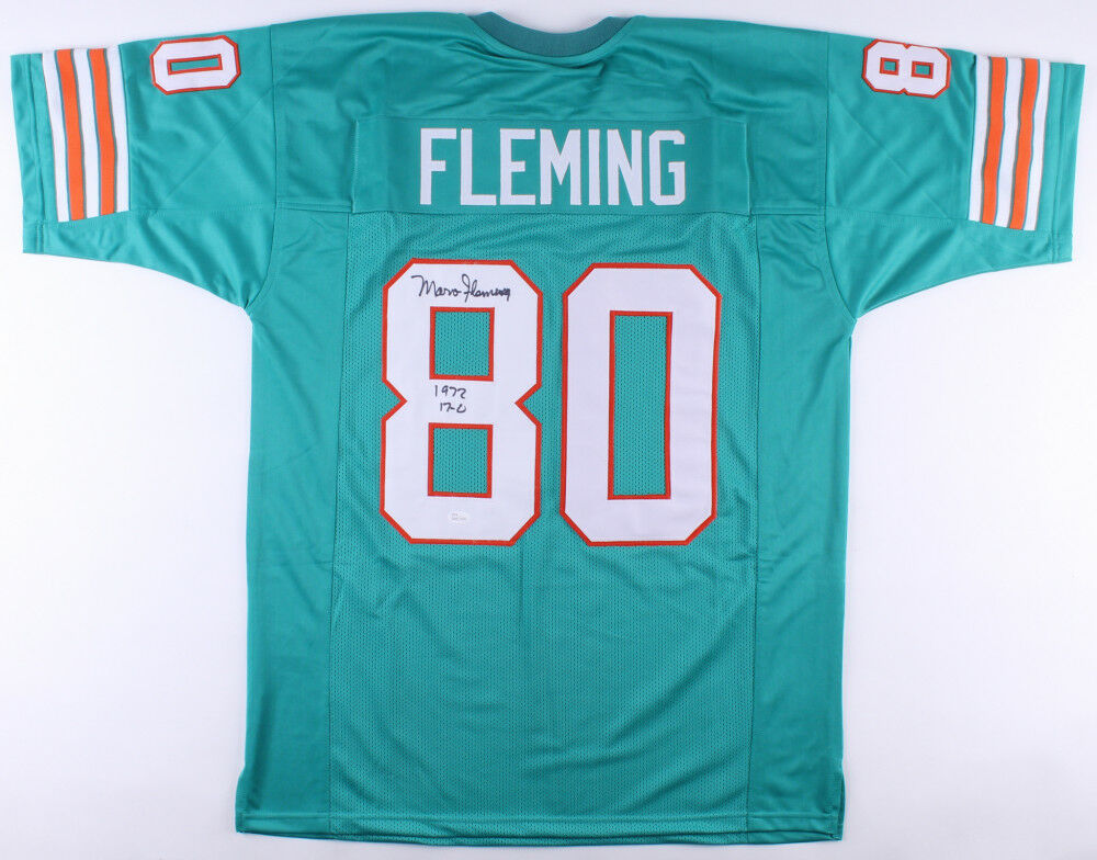 Marv Fleming Signed Miami Dolphins Teal Jersey Inscribed 1972 17-0 (JSA COA)