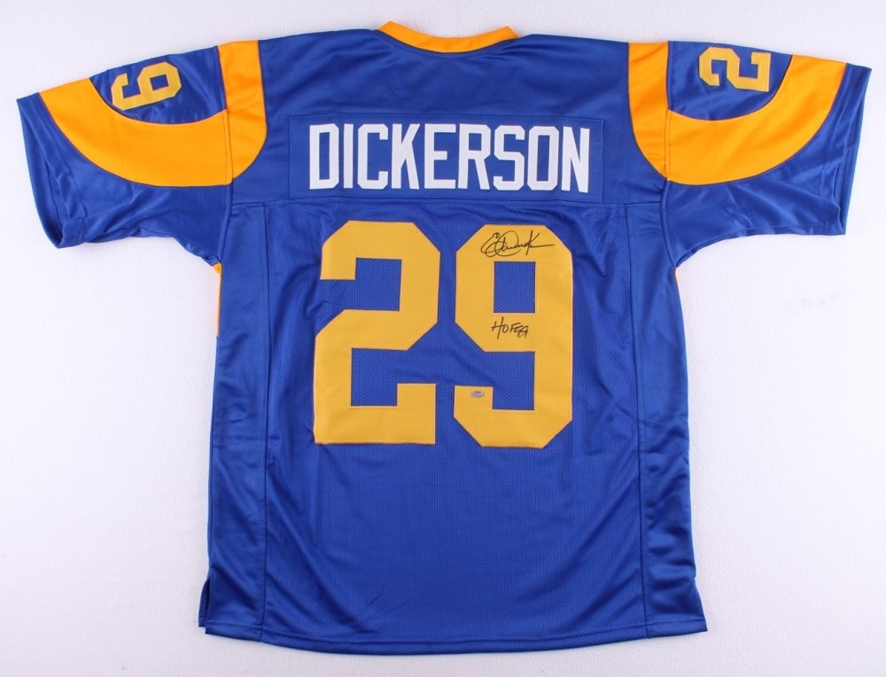 detailed look f55fc 9ba36 Eric Dickerson Signed Rams Throwback Jersey Inscribed