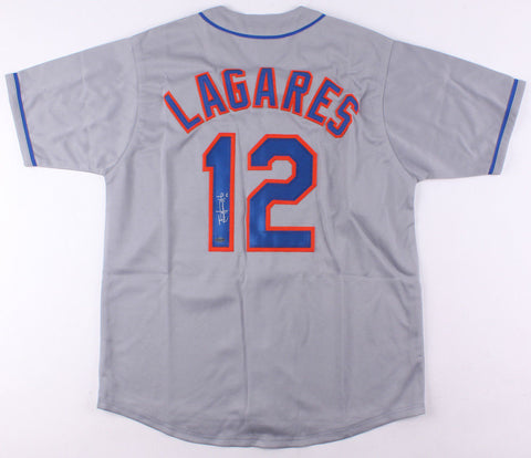 Juan Lagares Signed New York Mets Gray Road Jersey (Leaf COA)