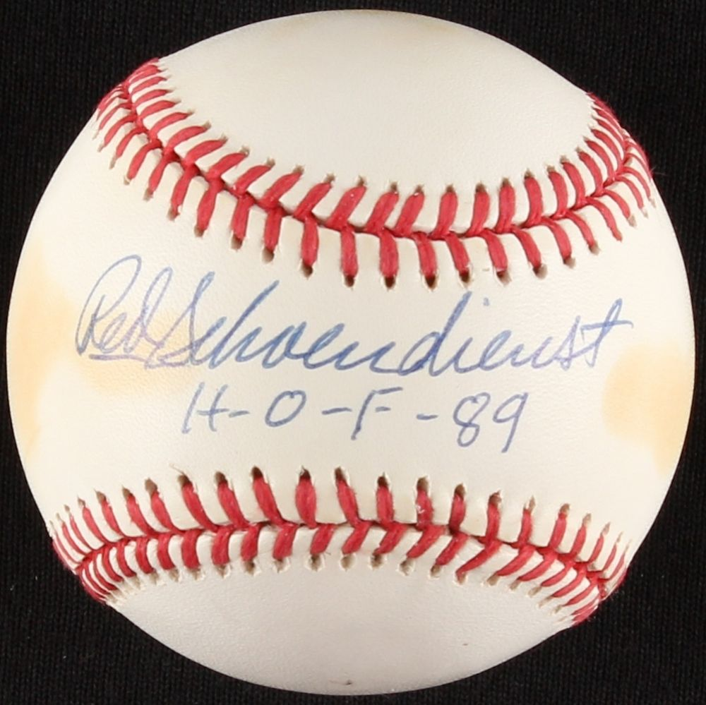 "Red Schoendienst Signed ONL Baseball Inscribed ""H-O-F- 89"" (SOP COA) Cardinals"