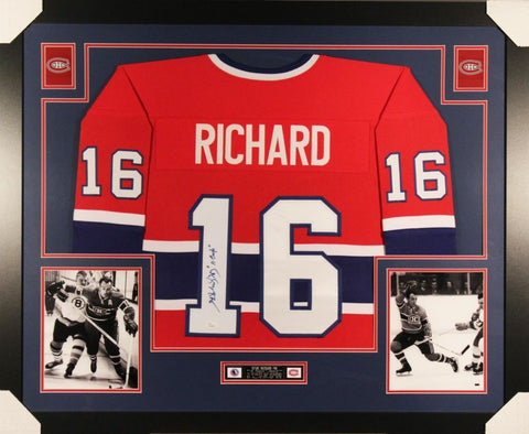 "Henri Richard Signed Canadiens 35""x 43"" Custom Framed Jersey Inscribed ""11 Cups"""
