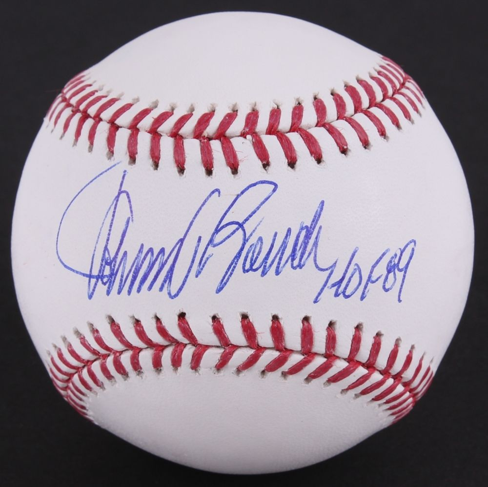 "Johnny Bench Signed OML Baseball Inscribed ""HOF 89"" JSA COA Reds Catching Great"