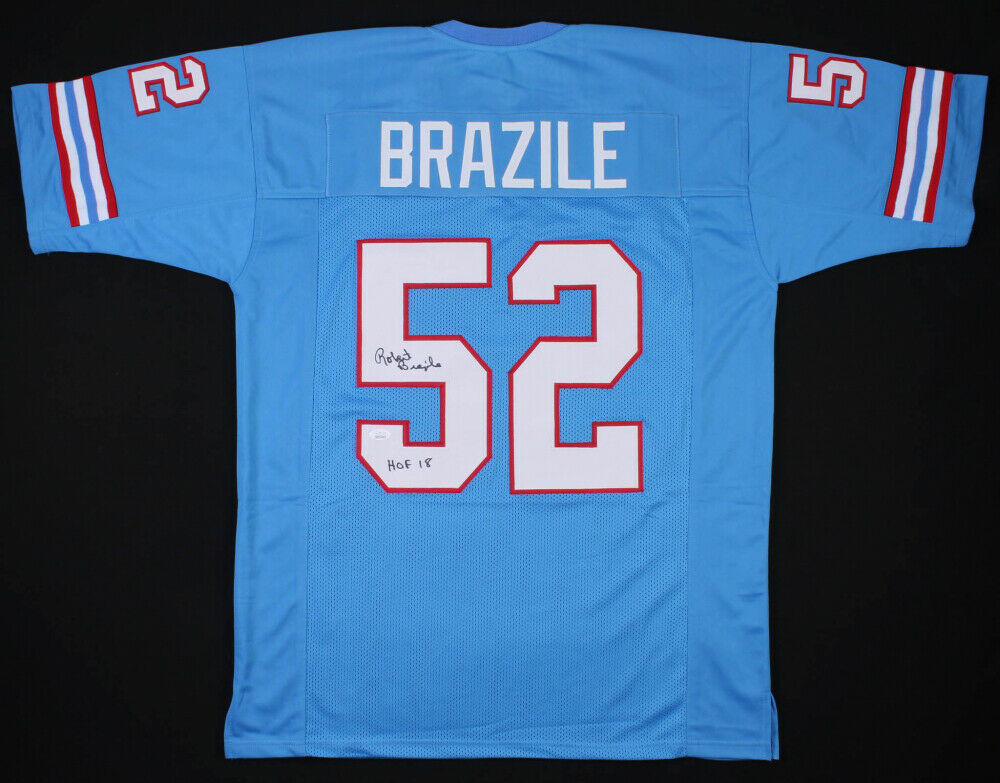 "Robert Brazile Signed Houston Oilers Jersey Inscribed ""HOF 18"" (JSA COA)"