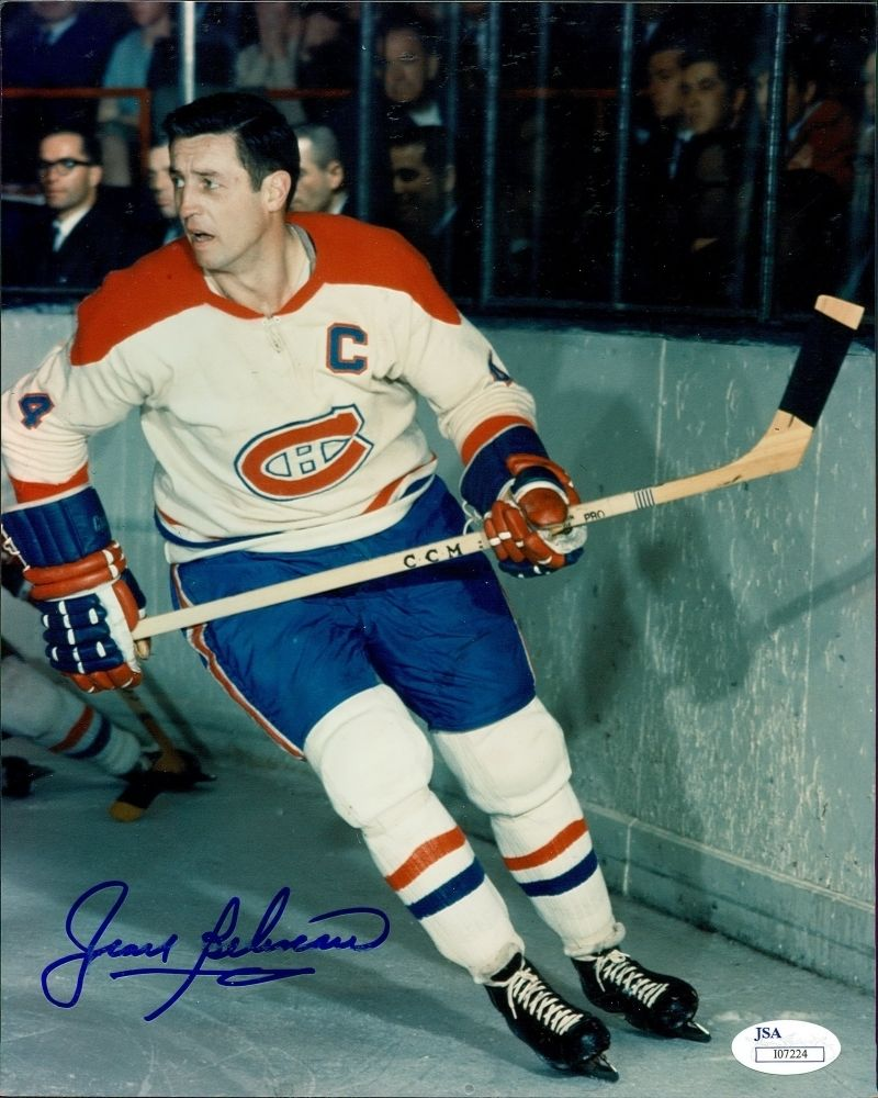 Jean Beliveau Signed Canadiens 8x10 Photo (JSA) 500 Goal Scorer / Died 12/02/16