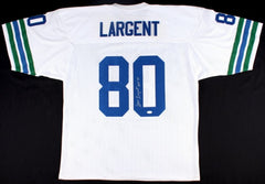 "Steve Largent Signed Seahawks Jersey Inscribed ""HOF 95"" (JSA COA)"