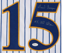 "Cecil Cooper Signed Brewers Jersey Inscribed ""5x All Star"" (JSA) 82 World Series"