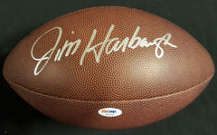 Jim Harbaugh Signed Wilson Football (PSA) Michigan Wolverines / Chicago Bears