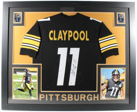Chase Claypool Signed Steelers 35x43 Framed Jersey (Beckett COA) Notre Dame W,R,