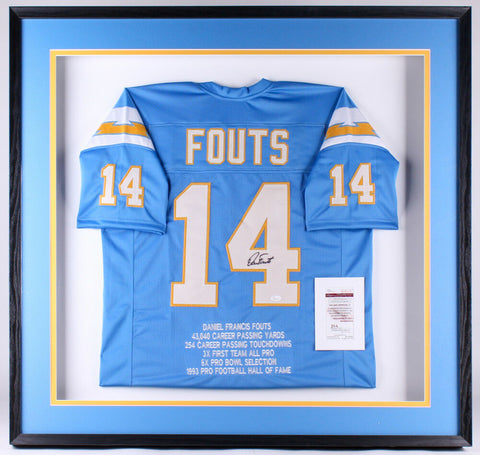 Dan Fouts Signed Chargers 41.25x41.25x3 Custom Framed Shadow Box Jersey Display