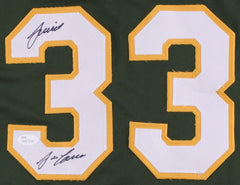 "Jose Canseco Signed Green Oakland Athletics Jersey Inscribed ""Juiced"" (JSA COA)"