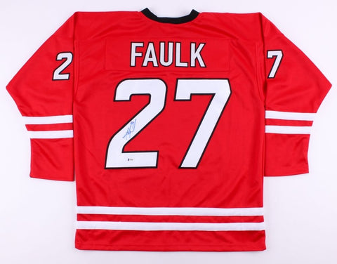 Justin Faulk Signed Hurricanes Jersey (Beckett) 37th Overall Pick 2010 NHL Draft