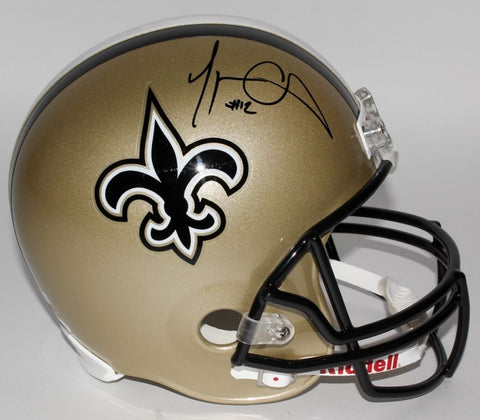 Marques Colston Signed Saints Full-Size Helmet (JSA) Super Bowl champion (XLIV)