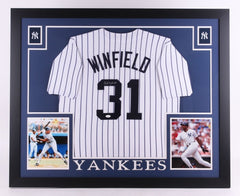 Dave Winfield Signed Yankees 35x43 Custom Framed Jersey (JSA) 12× All-Star