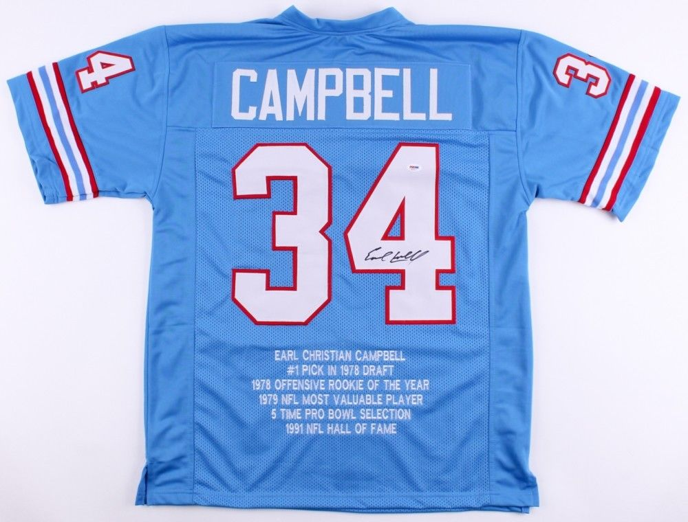 Earl Campbell Signed Oilers Career Highlight Stat Jersey (PSA) 5x Pro Bowl R.B.