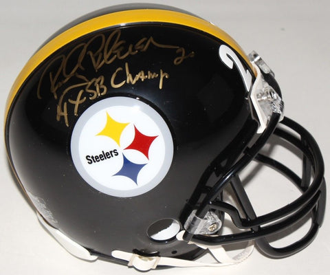 "Rocky Bleier Signed Steelers Mini-Helmet Inscribed ""4X SB Champ"" (TSE COA)"
