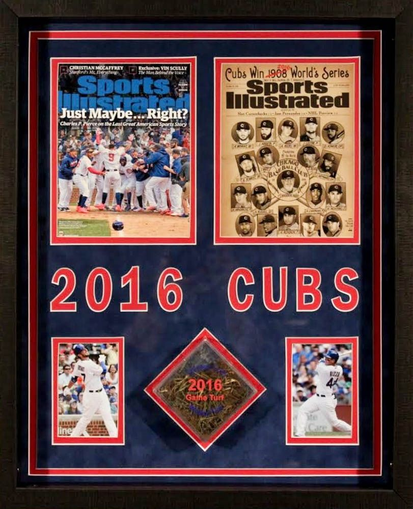 Chicago Cubs 17x21x2 Custom Framed Game-Used Turf Shadowbox Display (Cubs COA)