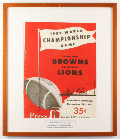 1952 World Championship Game 23x27 Framed Stadium Poster Display Browns vs Lions