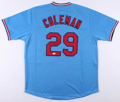 Vince Coleman Signed St. Louis Cardinals Powder Blue Throwback Jersey (JSA COA)