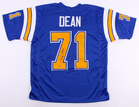 "Fred Dean Signed Chargers Jersey Inscribed ""HOF 08"" (JSA) Dark Blue Alternate"