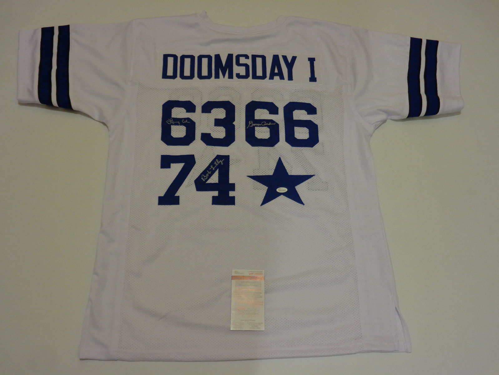 "Dallas Cowboys ""Doomsday D I"" Signed Jersey Bob Lilly,Larry Cole,& George Andrie"