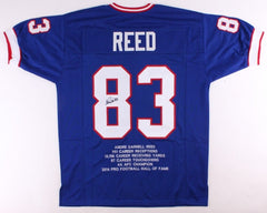 Andre Reed Signed Buffal0 Bills Career Stat Jersey (JSA) 7× Pro Bowl 1988–1994