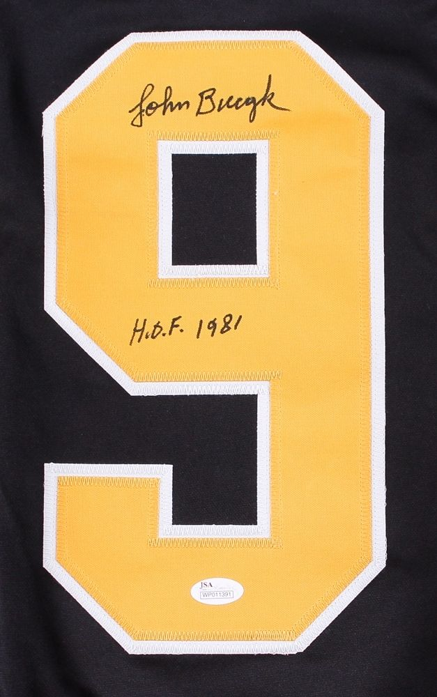 "Johnny Bucyk Signed Bruins Captain Jersey Inscribed ""H.O.F. 1981"" (JSA COA)"