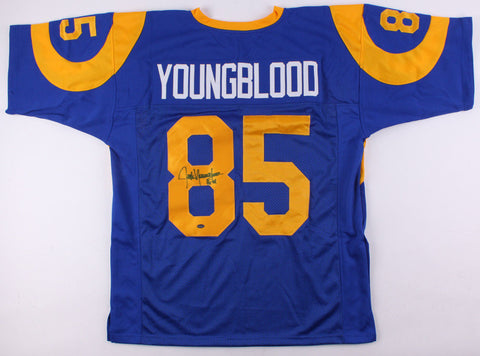 Jack Youngblood Signed Custom Los Angeles Rams Jersey (Schwartz) 7× Pro Bowl D.E