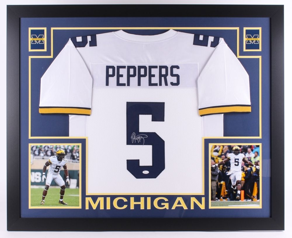 064c91591 Jabrill Peppers Signed Michigan Wolverines 35x43 Custom Framed Jersey –  confinescollectibles.com