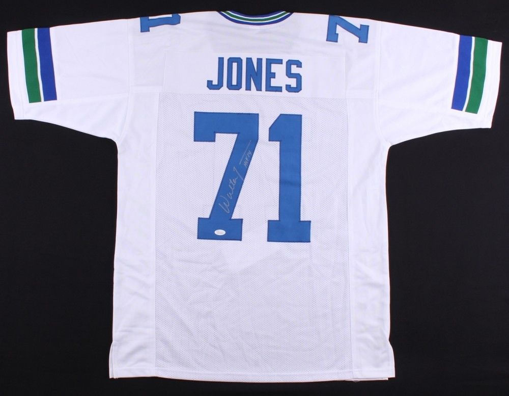 "Walter Jones Signed Seahawks Jersey Inscribed ""HOF 14"" (JSA) 9× Pro Bowl Tackle"