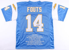 Dan Fouts Signed Chargers Career Highlight Stat Jersey (JSA ) Hall of Fame 1993