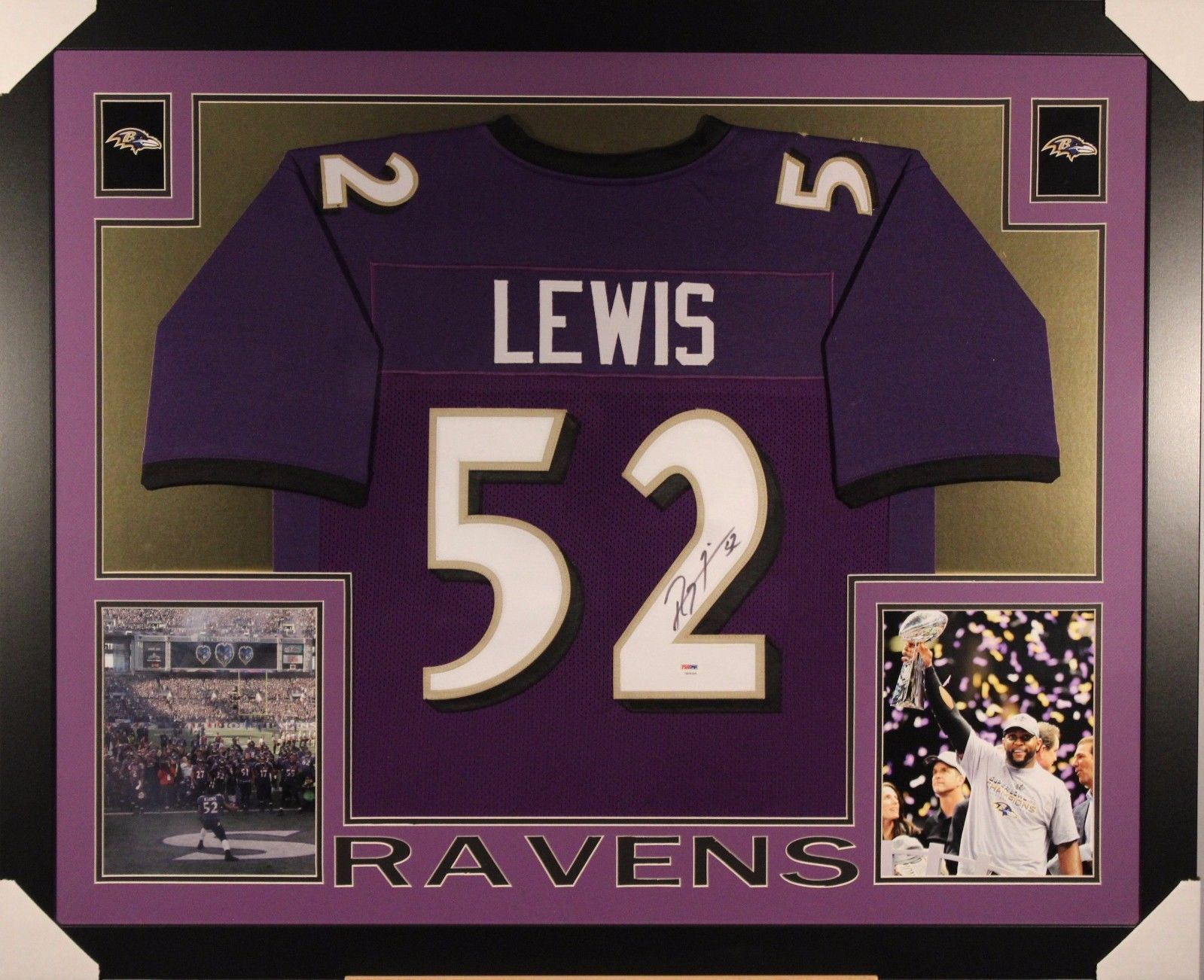 RAY LEWIS AUTOGRAPHED FRAMED AND MATTED BALTIMORE RAVENS JERSEY