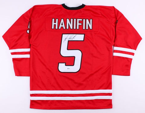 Noah Hanifin Signed Hurricanes Jersey (Beckett) 5th Overall Pick 2015 NHL Draft