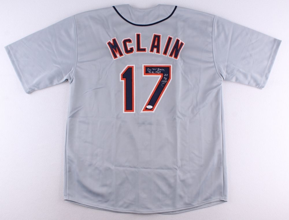 "Denny McLain Signed 1968 Tigers Jersey Inscribed ""31-6, 1968"" & ""2x CY 68/69"""