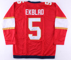 Aaron Ekblad Signed Panthers Jersey (Beckett COA) #1 Overall Pick 2014 NHL Draft