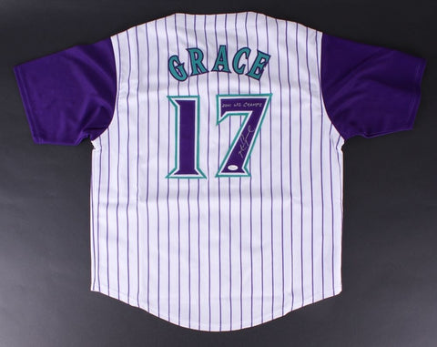 "Mark Grace Signed Diamondbacks Jersey Inscribed ""2001 WS CHAMPS"" (JSA COA) Cubs"