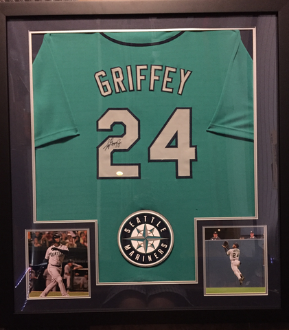 "Ken Griffey Jr Signed Seattle Mariners 36""x 39"" Framed Jersey (COA)"
