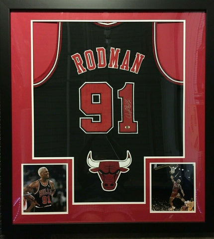 "Dennis Rodman Signed Chicago Bulls 36""x39"" Custom Framed Jersey (S.I.Hologram)"