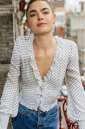 Polka Dot White Ruffle Top