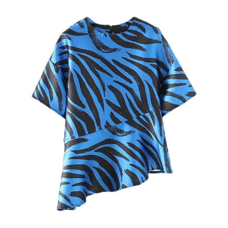 Blue Animal Print Asymmetrical Top - buyandpossess