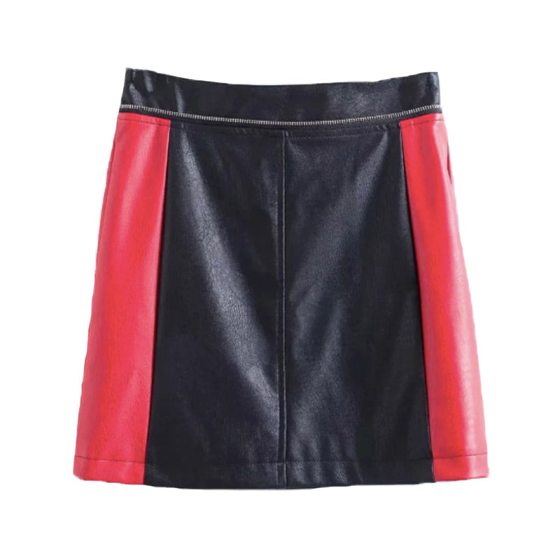 Black And Red Biker Style PU Mini Skirt