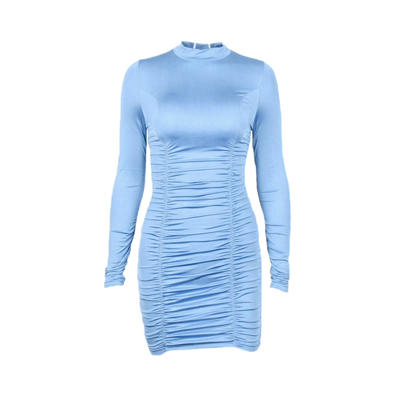 Blue Turtleneck Bodycon Dress