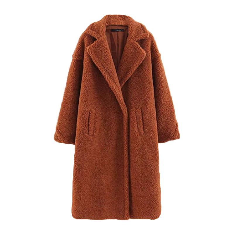 Faux Fur Plush Longline Coat