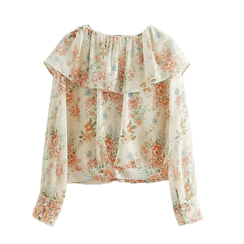 Floral Ruffle Long Sleeve Chiffon Blouse