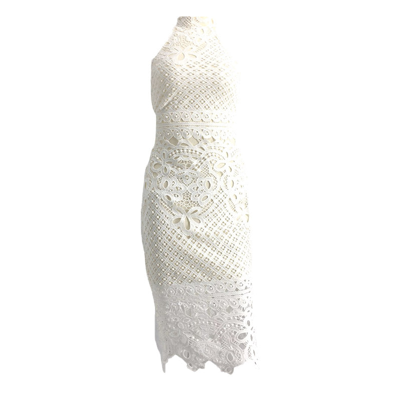 White Lace Halterneck Midi Dress