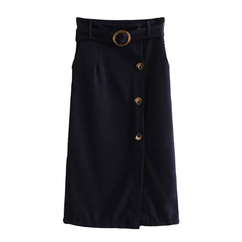 Button Detail Long Elegant Skirt